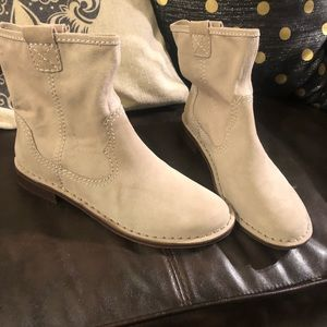 Tan canvas ankle boots